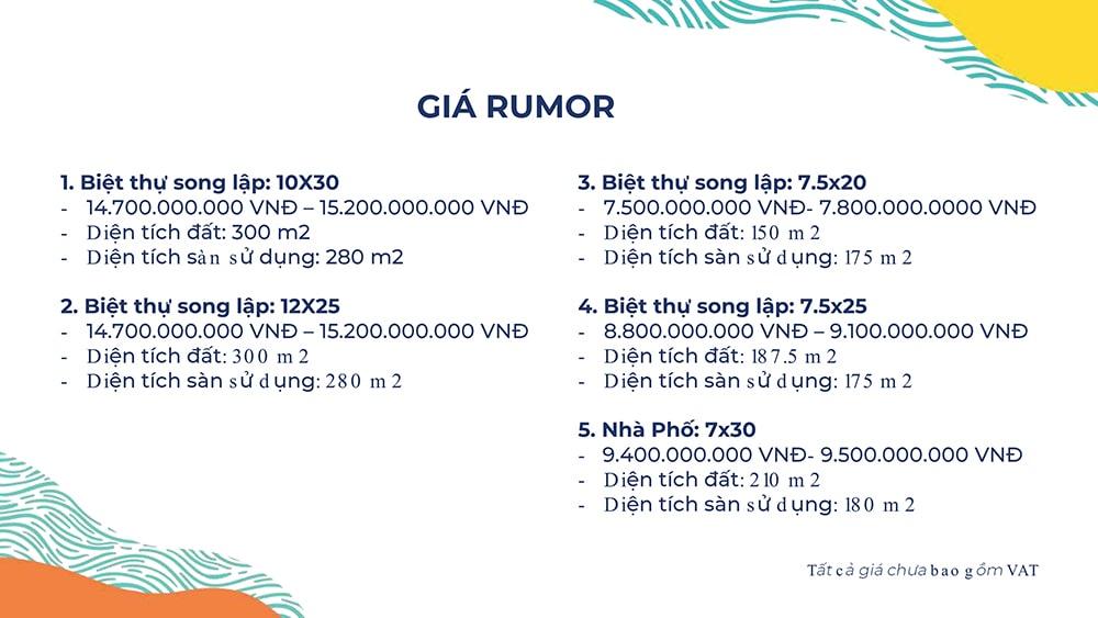 Giá Rumo dự án Novaworld Phan Thiết